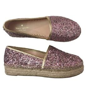 New KATE SPADE glitter espadrilles rose gold 7